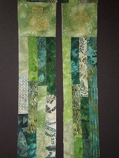 ORDS-111R  REVERSIBLE  GREEN Batik Patchwork by STCLAIRVESTMENTS