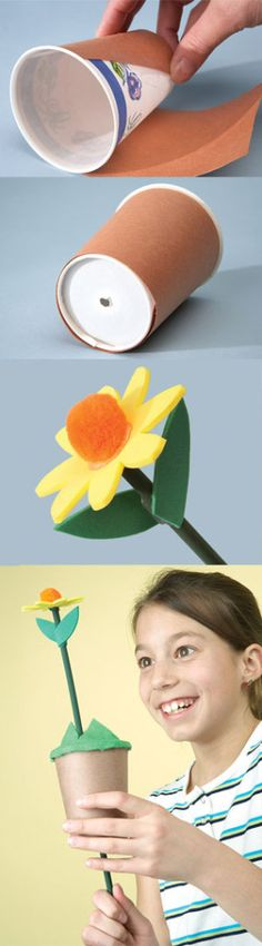 "Kids celebrate spring's new life by creating their own ""growing"" flowers."