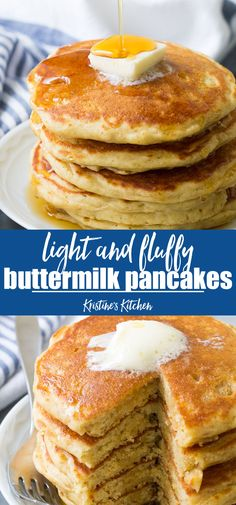 pancake recette Light and fluffy buttermilk pancakes with delicious buttermilk flavor. Tips for how to make the best fluffy pancakes from scratch. Quick and easy healthy homemade pancake recipe! Perfect for weekend breakfasts! Homemade Buttermilk Pancakes, Buttermilk Recipes, Recipe For Homemade Pancakes, Best Pancake Recipe Fluffy, Pancake Recipe Easy Fluffy, Perfect Pancake Recipe, Breakfast Pancakes, Pancakes And Waffles, Breakfast Recipes