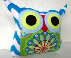 Aqua /Zig zag /Polyfil Stuffed Owl Pillow/ medium by fongstudio