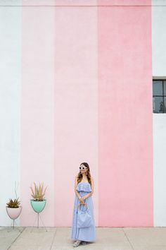 Pigment Pink Ombre Stripe Wall San Diego