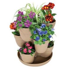 Emsco, 13 in. Resin 3-Tier Flower and Herb Tower Planter in Sand Finish, 2380-1 at The Home Depot - Mobile