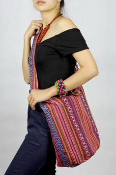 Ikat Bag Boho Hippie bag purse Festival hobo bag tote bag unisex bag ethnic gypsy woven tapestry Abstract tribal native design