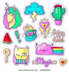 Cool set with neon stickers in pop art comic style. 90s patch badges and pins with cartoon animal characters, food and things. Vector doodle set with unicorn, happy and angry cloud, owl etc. Part 6