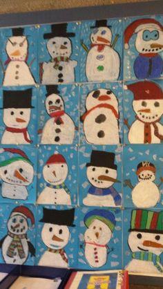 Winter: tekenles groep 6: wasco op blauw papier