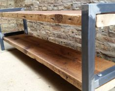 Reclaimed Wood and Steel Console Shelves Bota Shelves Diy Furniture Plans, Farmhouse Furniture, Furniture Projects, Pipe Furniture, Outdoor Furniture, Furniture Vintage, Cheap Furniture, Outdoor Decor, Console Shelf