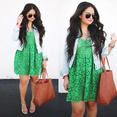 An all new post featuring this green lace favorite today on the blog  new items just added over to @shopandreaasoto Shop everything in this photo via your email inbox by signing up once with @liketoknow.it or going to link in profile: www.liketk.it/1HUNN #liketkit #wiw #summerwear by andreaasoto