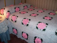 Crochet Afghan Squares   Rose Granny Square Bedspread/Coverlet Crocheted by KansasYaYa