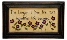 """Primitive Country """"Longer I Live"""" Stitchery Primitive Embroidery, Primitive Stitchery, Primitive Patterns, Primitive Crafts, Primitive Country, Primitive Christmas, Country Christmas, Christmas Christmas, Hand Work Embroidery"""