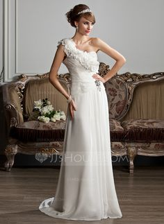 Wedding Dresses - $156.99 - A-Line/Princess One-Shoulder Sweep Train Chiffon Wedding Dress With Ruffle Beading Flower(s) (002013807) http://jjshouse.com/A-Line-Princess-One-Shoulder-Sweep-Train-Chiffon-Wedding-Dress-With-Ruffle-Beading-Flower-S-002013807-g13807