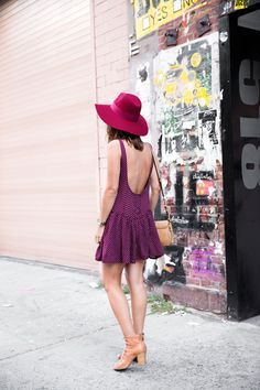 I can't wear a skirt so short or a back so low, but I think it's such a cute dress and I like the clash of colors.