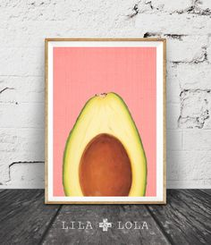 Avocado Print, Tropical Fruit Wall Art, Kitchen Printable Decor, Avocado Half Slice, Pink and Yellow, Instant Download