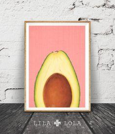 Avocado Print, Tropical Fruit Wall Art, Kitchen Printable Decor, Avocado Half Slice, Pink and Yellow, Instant Download
