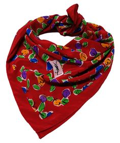 YSL Yves Saint Laurent Red Flower 70s Silk Scarf by Vintageables