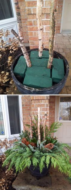 DIY Outdoor Christmas Planter.