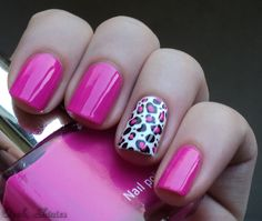 Cheetah Nails via oooh shinies Filled in with Color Cosmetic nr. 21 and used on the rest of her nails from Get Nails, Love Nails, How To Do Nails, Pretty Nails, Hair And Nails, Pink Leopard Nails, Pink Cheetah Nails, White Leopard, Accent Nails