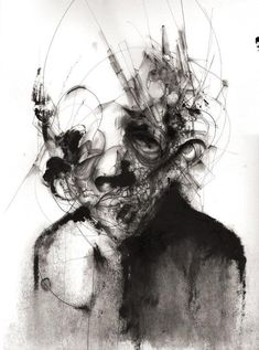Dark abstract portraits by Eric Lacombe - Real Time - Diet, Exercise, Fitness, Finance You for Healthy articles ideas Dark Art Illustrations, Illustration Art, Abstract Portrait, Abstract Art, Dibujos Dark, Dark Art Drawings, Dark Artwork, Van Gogh Museum, Portraits