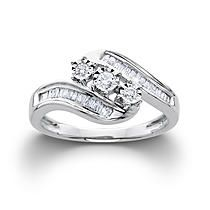 1/3CTTW Certified Diamond Round Ring 10K White Gold