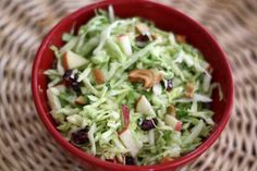 Apple Cranberry Coleslaw with Cashews - dressing is better with powdered sugar (instead of granulated) and a little less vinegar.  This is delicious!