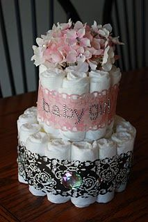 diaper cake, in lavender and white fancy lace