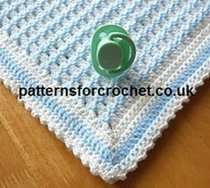 "Crib Blanket Free Baby Crochet Pattern  ————————————————- Approx size: 30""…"
