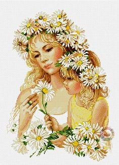free cross stitch patterns in pdf format with mom and daugther