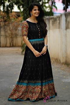 Product Details Fabric: Raw silk long gown with kalamakaro handloom patchwork border. Long Gown Dress, Frock Dress, Full Gown, Long Frock, Kalamkari Dresses, Ikkat Dresses, Party Wear Maxi Dresses, Casual Dresses, Long Dresses