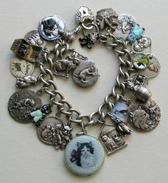 Antique Vintage Cat 800 900 Sterling Silver Charm Bracelet. These charms are gorgeous! I want the Felix charm and the cats in overalls charms! If anyone sees these somewhere let me know :)