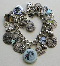 Antique Vintage Cat 800 900 Sterling Silver Charm Bracelet