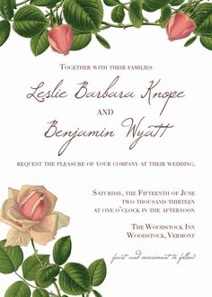 Secret Garden Wedding Invitation DIY PDF Printable -- Roses