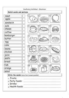 English Grammar Worksheets, English Resources, English Activities, Education English, English Vocabulary, Teaching English, Food Vocabulary, Vocabulary Practice, Vocabulary Worksheets