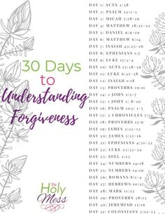 Bible Verses about Forgiveness - 30 Day Bible Reading Plan The Holy Mess Read these Bible Verses about Forgiveness to understand how God forgives you and how you can forgive others who have hurt you. Bible Study Plans, Bible Study Notebook, Bible Plan, Bible Study Tips, Bible Study Journal, Bible Lessons, Bible Reading Plans, Bible Verses About Forgiveness, Bible Scriptures