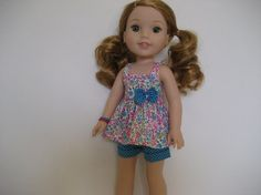 14.5 Inch Doll Clothes  Tiny Turquoise Blossoms Shorts Outfit