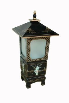 Oriental Furniture Black Lacquered with Mother of Pearl Lamp Chinese Lighting | eBay