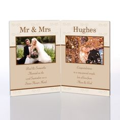 Our Mr and Mrs Double Photo Message Plaquedesign features 2 images of the happy couple, the new Surname of the couple, the wedding details and a short message.