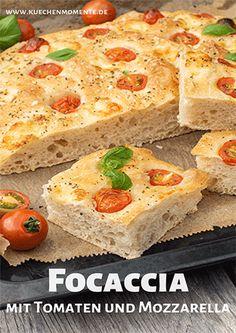 Focaccia con tomate y mozzarella Flatbread Pizza Recipes, Healthy Pizza Recipes, Fun Baking Recipes, Pizza Recipe Video, Deep Dish Pizza Recipe, Barbacoa, French Bread Pizza, Artisan Pizza, Barbecue Sauce Recipes