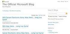 Suriye Elektronik Ordusu Microsoft�un resmi blogu ve Twitter hesab�na sald�rd�