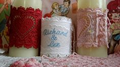 Candle corsets that can be personalized with YOUR name, candle not included. Credit to the  the digitizer: K-Lace at Criswell Designs. Contact me at embroidereddaydreams@aol.com.