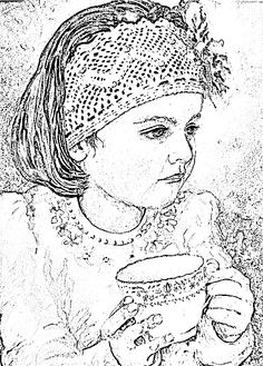 beautiful little girl coloring page