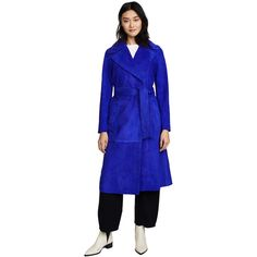 Diane von Furstenberg Suede Trench Coat ($2,420) ❤ liked on Polyvore featuring outerwear, coats, electric blue, diane von furstenberg, trench coat, long suede coat, suede leather coat and long sleeve coat