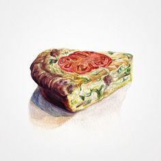 Vegetable & Sausage Quiche. Watercolor illustrations by Sara Zin. http://starvingartistbook.tumblr.com/