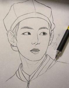 Anime Drawings Sketches, Kpop Drawings, Cool Art Drawings, Pencil Art Drawings, Kpop Anime, Taehyung Fanart, Bts Chibi, Kpop Fanart, Art Sketchbook