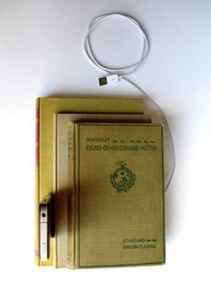 recycled book charging station. genius