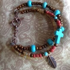 Southwest inspired bracelet with cross by MomentsofChaos on Etsy