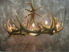 Elk 9 Cast Antler Chandelier w/ Downlight