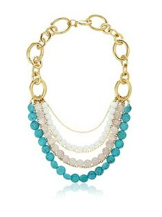 60% OFF Cristina V. Turquoise Rose Quartz Statement Necklace