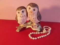 Vintage animal family owls. Pottery owls Excellent by RetroBuy, $16.95