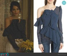 """Cristal Flores wears this asymmetric ruffled navy polka dot """"Plumetis"""" too by Self Portrait on Dynasty Fashion 2017, Fashion Outfits, Womens Fashion, Dynasty Clothing, Nathalie Kelley, One Shoulder Ruffle Top, Tv Show Outfits, Beautiful Female Celebrities, Celebrity Outfits"""