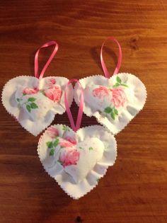 Vintage Fabric Heart Ornaments 1025-15 by UppityStuff on Etsy