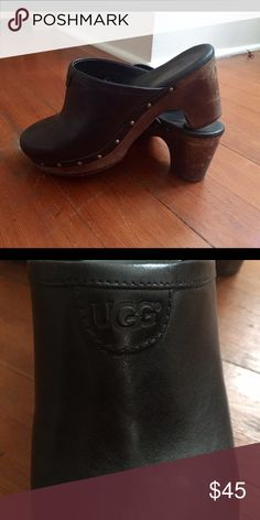 Ugg black clogs Black leather UGG clogs. Will keep your toes warm and cozy with their fuzzy inside! Wooden and rubber  soles with stylish brass rivets. Very cute! UGG Shoes Mules & Clogs